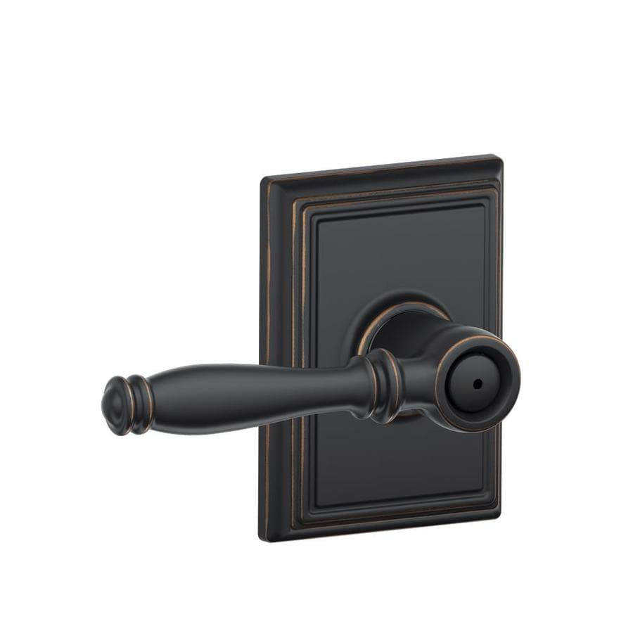 Schlage Decorative Addison Collections Birmingham Aged Bronze Push-Button Lock Privacy Door Lever