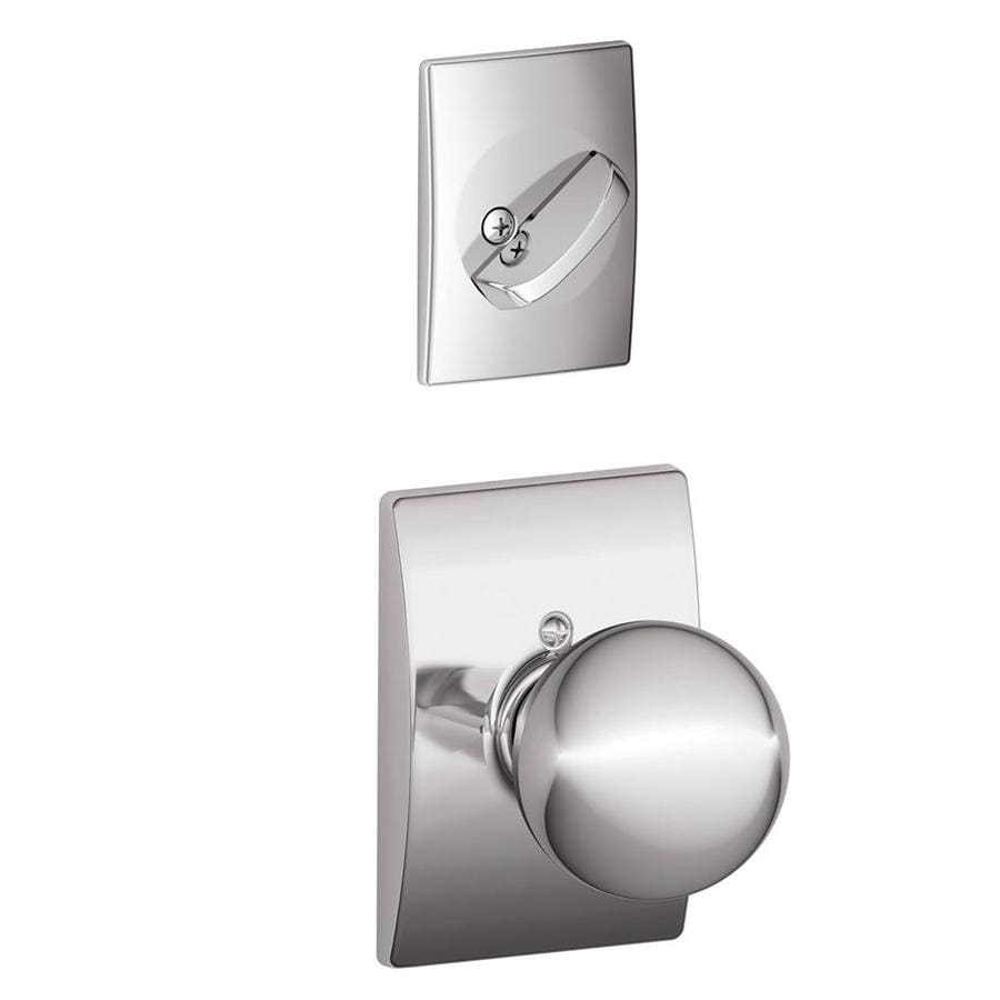 Schlage Orbit x Century Rose 1-5/8-in to 1-3/4-in Bright Chrome Single Cylinder Knob Entry Door Interior Handle