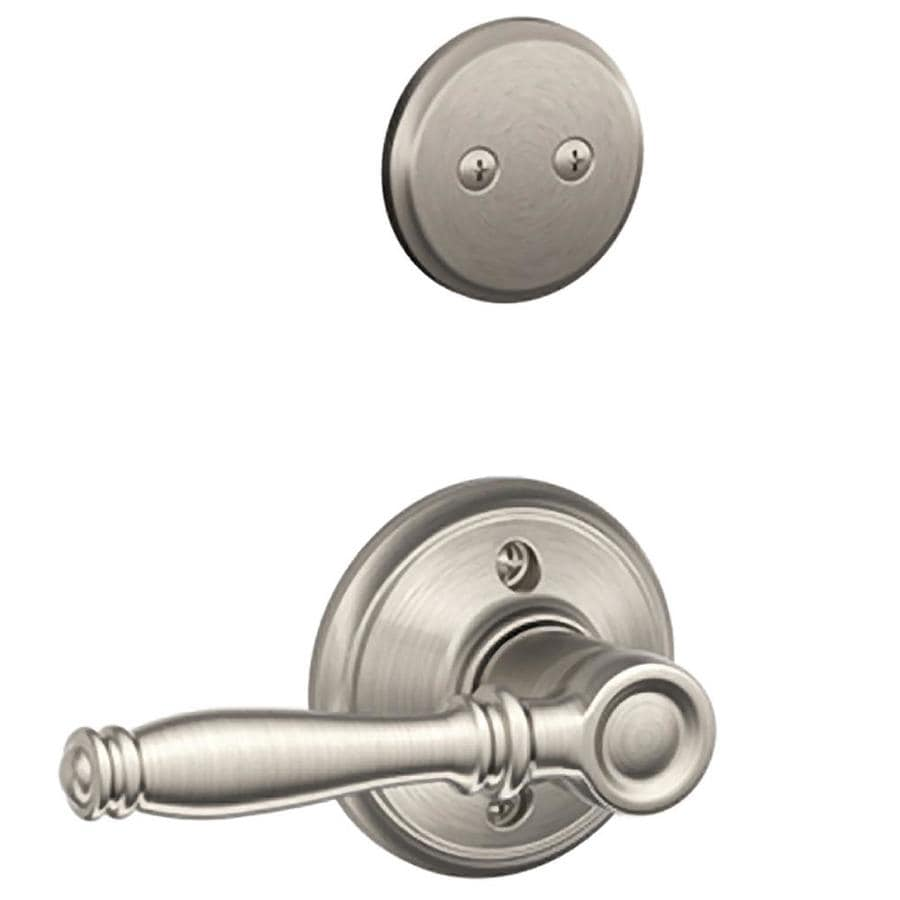 Shop Schlage Birmingham 1 5 8 In To 1 3 4 In Satin Nickel Non Keyed Lever Entry Door Interior