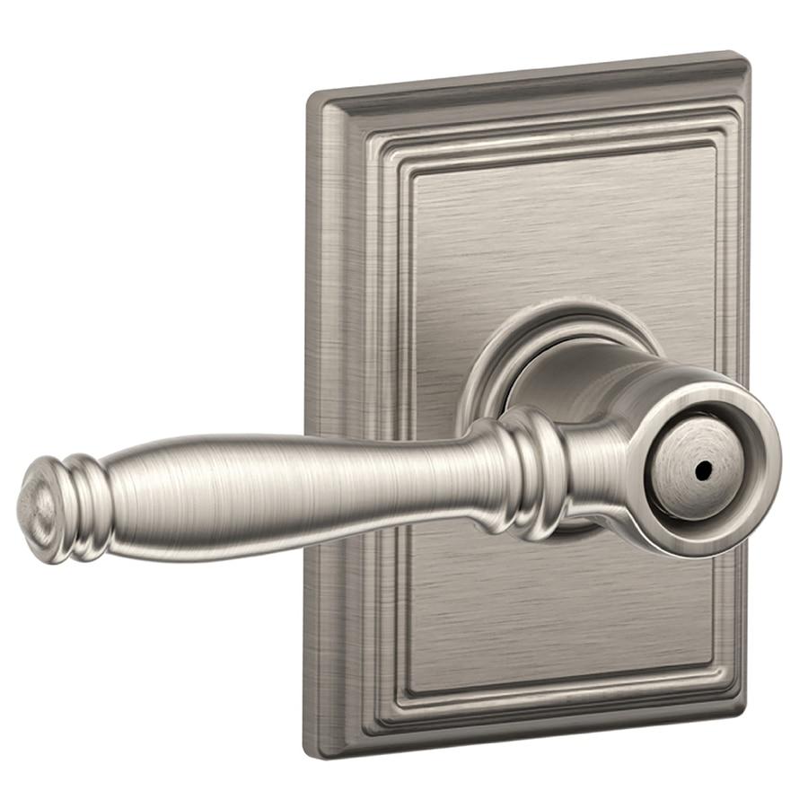 Schlage F Decorative Addison Collections Birmingham Satin Nickel Push-Button Lock Privacy Door Lever