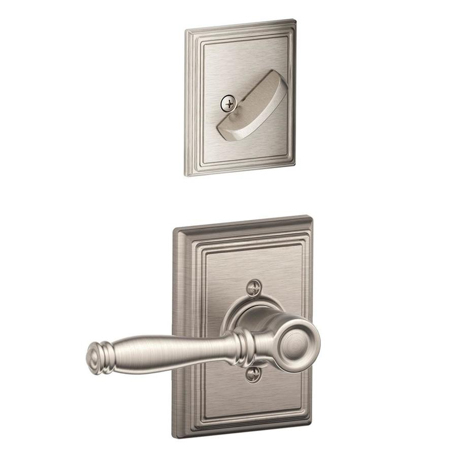 Schlage Birmingham x Addison 1-5/8-in to 1-3/4-in Satin Nickel Non-Keyed Lever Entry Door Interior Handle