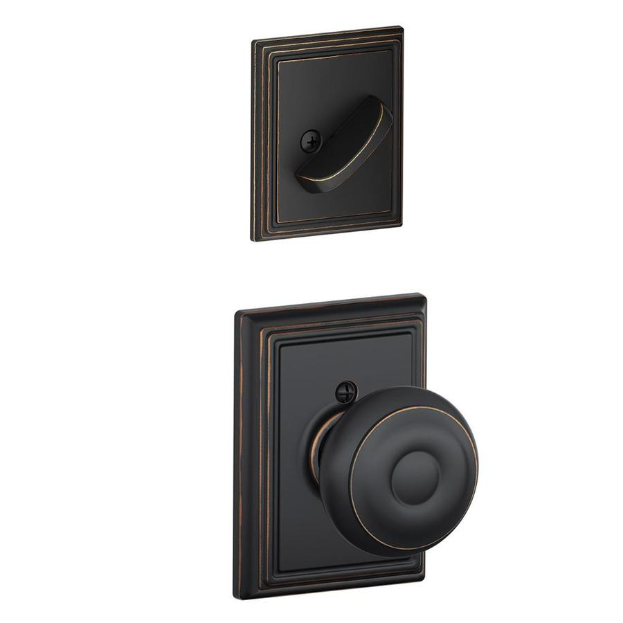 Schlage Georgian x Addison Rose 1-5/8-in to 1-3/4-in Aged Bronze Single Cylinder Knob Entry Door Interior Handle