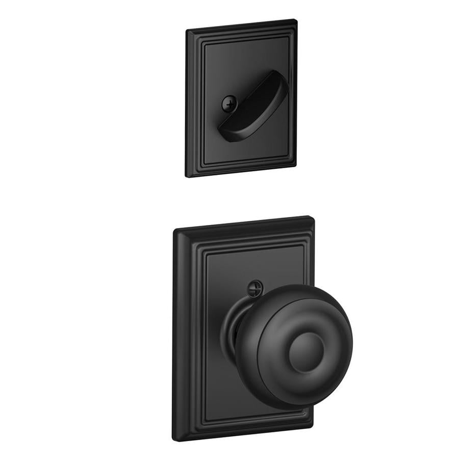 Schlage Georgian x Addison Rose 1-5/8-in to 1-3/4-in Matte Black Traditional Single Cylinder Knob Entry Door Interior Handle