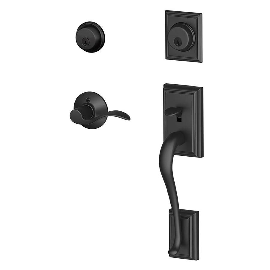 Shop Schlage F Addison X Accent Lever Matte Black Dual Lock Keyed Entry Door