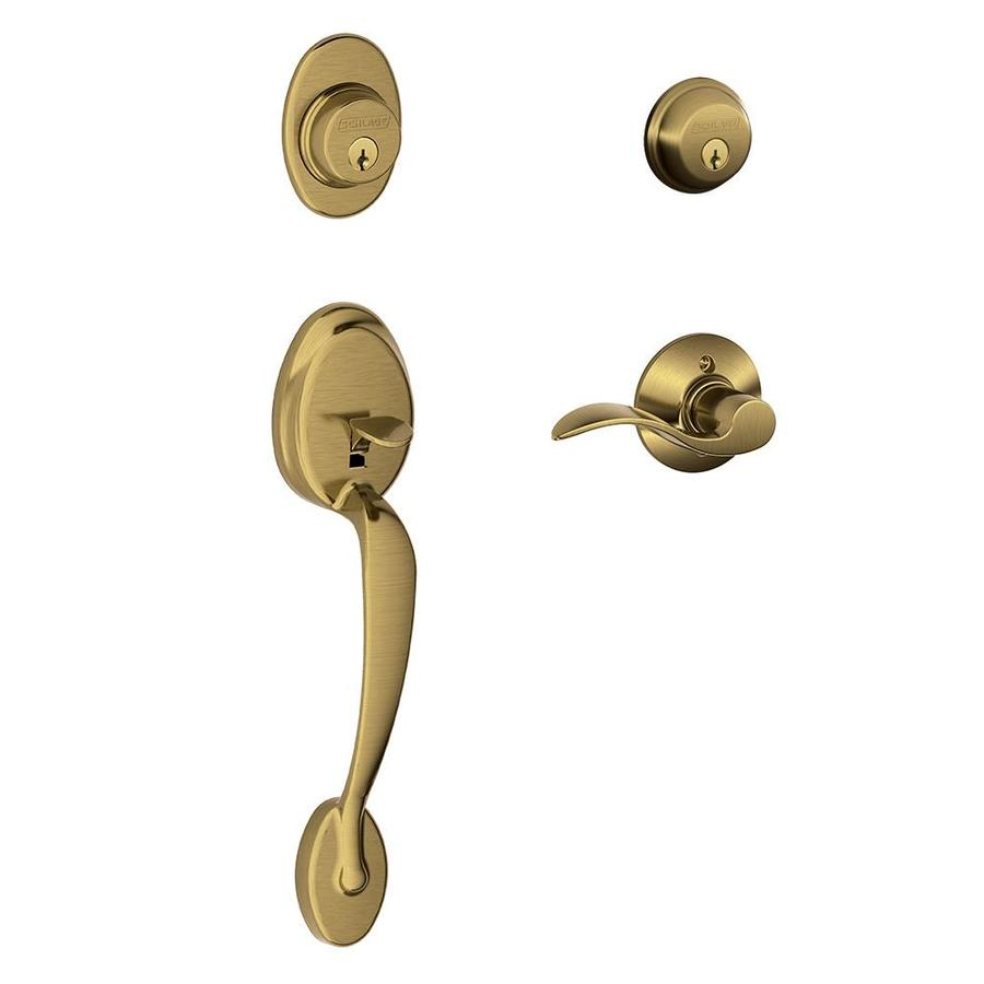 Shop Schlage F Plymouth Accent Lever Antique Brass Double