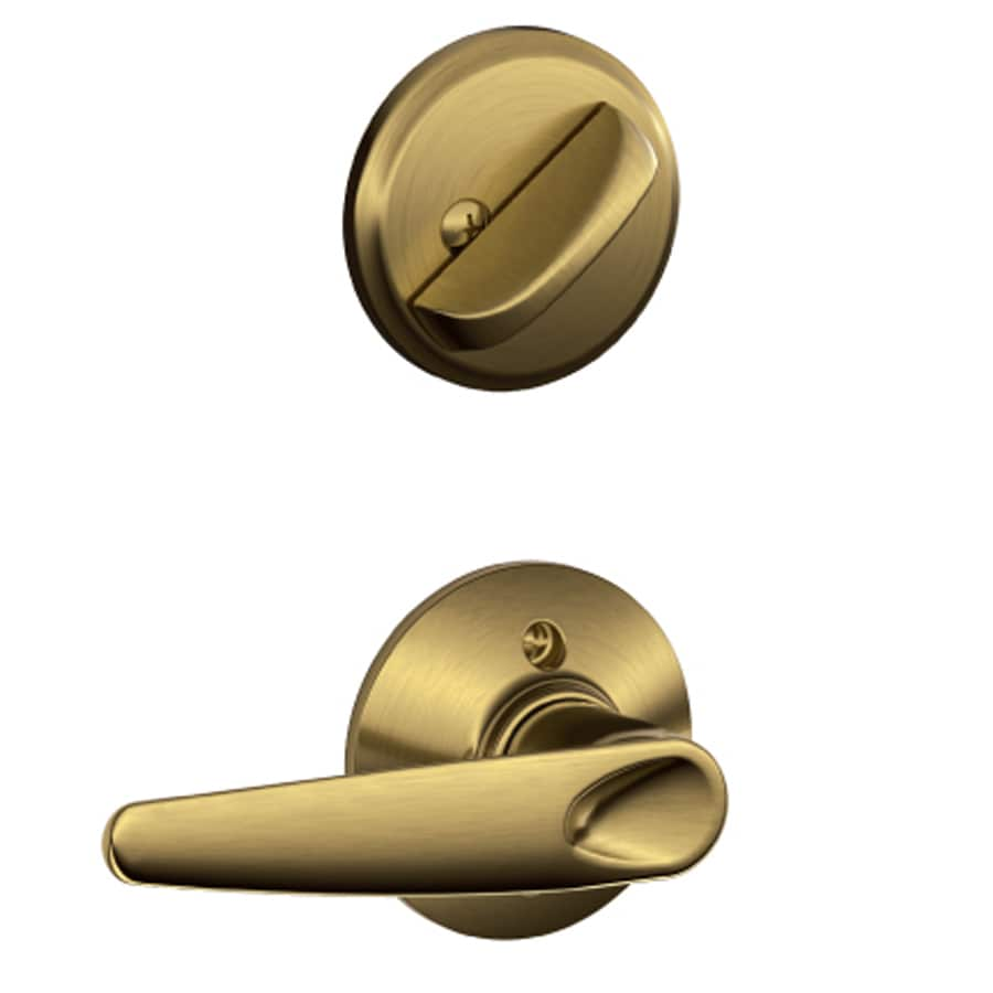 Schlage Jazz 1-5/8-in to 1-3/4-in Antique Brass Single Cylinder Lever Entry Door Interior Handle