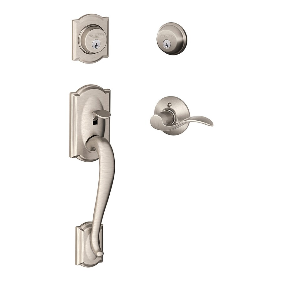 Schlage Camelot Callington Lever Traditional Satin Nickel Dual-Lock Keyed Entry Door Handleset