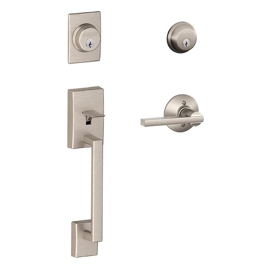 Schlage Century Latitude Lever Traditional Satin Nickel Dual-Lock Keyed Entry Door Handleset