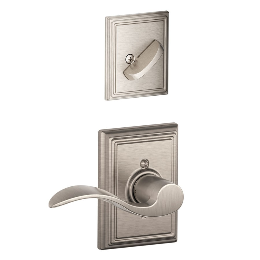 Schlage Accent x Addison Rose 1-5/8-in to 1-3/4-in Satin Nickel Non-Keyed Lever Entry Door Interior Handle
