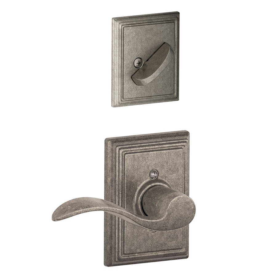 Schlage Accent x Addison Rose 1-5/8-in to 1-3/4-in Distressed Nickel Non-Keyed Lever Entry Door Interior Handle