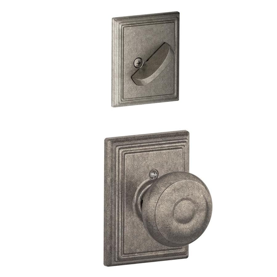 Schlage Georgian x Addison Rose 1-5/8-in to 1-3/4-in Distressed Nickel Traditional Single Cylinder Knob Entry Door Interior Handle