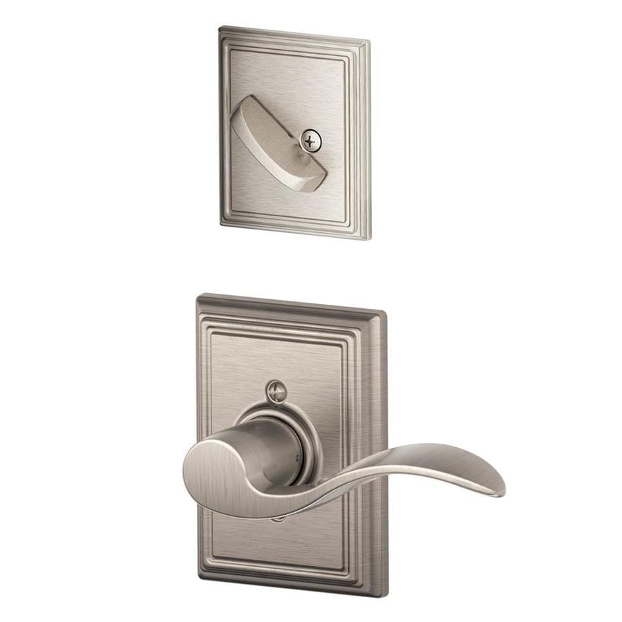 Schlage Accent x Addison Rose 1-5/8-in to 1-3/4-in Satin Nickel Traditional Single Cylinder Lever Entry Door Interior Handle