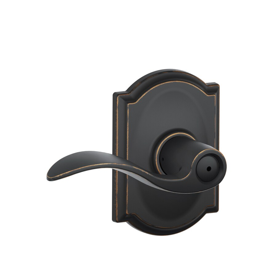 Schlage F40 Accent Aged Bronze Push Button Lock Privacy Door Lever
