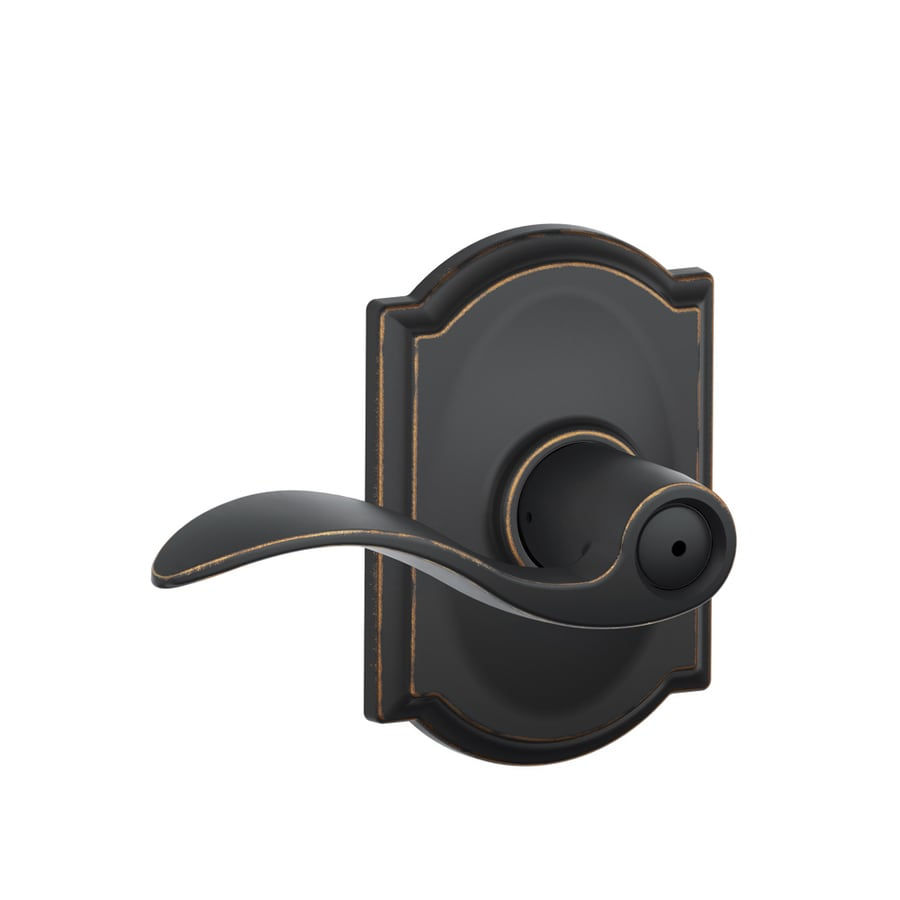 Schlage Accent Aged Bronze Push-Button Lock Privacy Door Lever