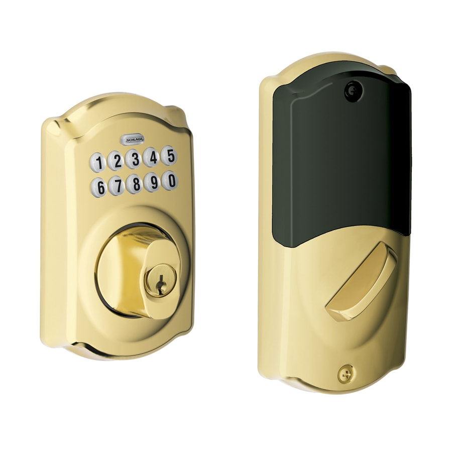 Schlage Camelot Bright Brass Single-Cylinder Electronic Entry Door Deadbolt with Keypad
