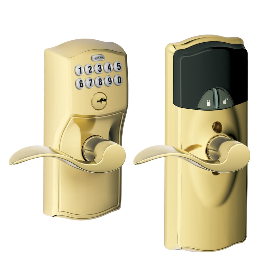 Schlage Camelot Bright Brass Electronic Entry Door Lever (Works with Iris)