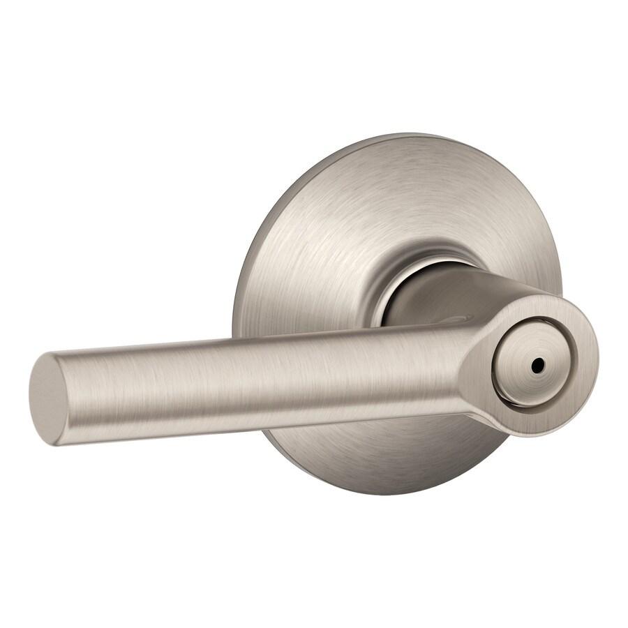 Schlage Broadway Satin Nickel Push-Button Lock Privacy Door Lever