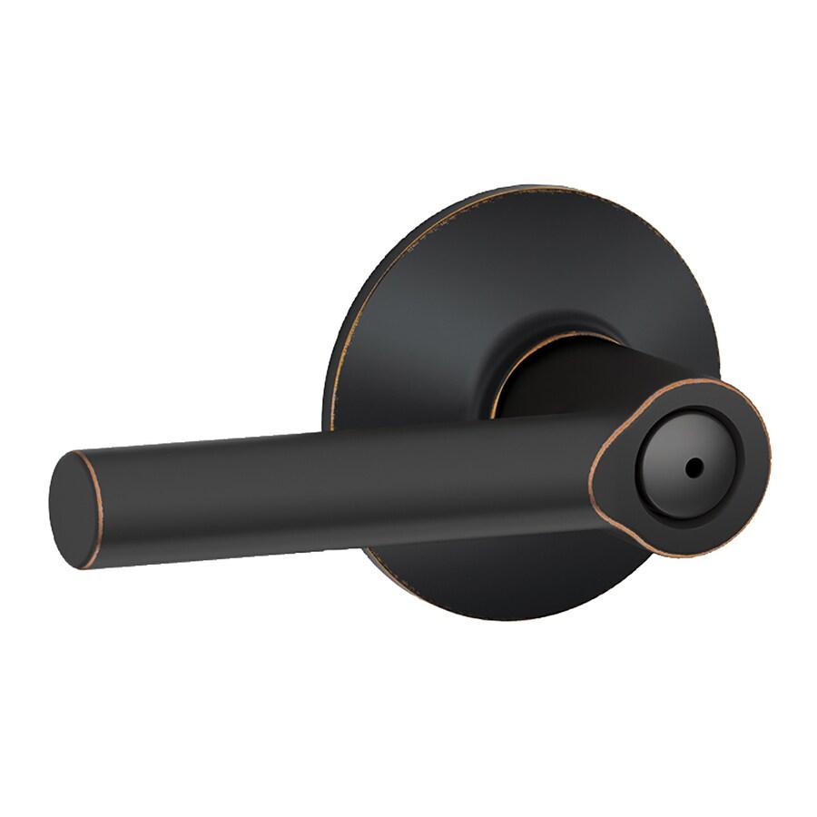 Schlage Broadway Aged Bronze Push-Button Lock Privacy Door Lever