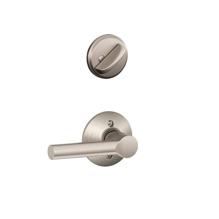 Schlage Broadway 1-5/8-in to 1-3/4-in Satin Nickel Single Cylinder Lever Entry Door Interior Handle