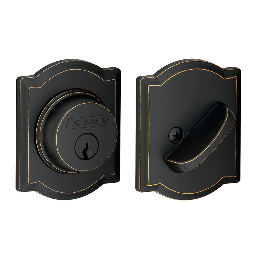 Schlage Camelot Aged Bronze Single-Cylinder Deadbolt