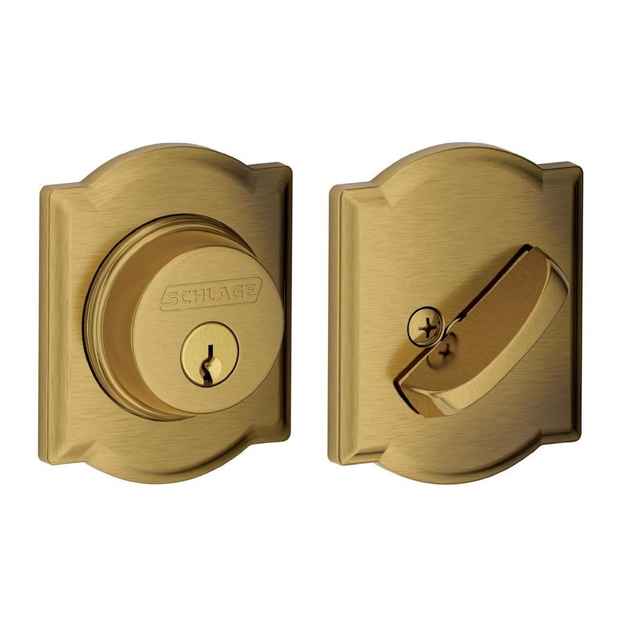 Schlage B Decorative Camelot Collections Antique Brass Single-Cylinder Deadbolt