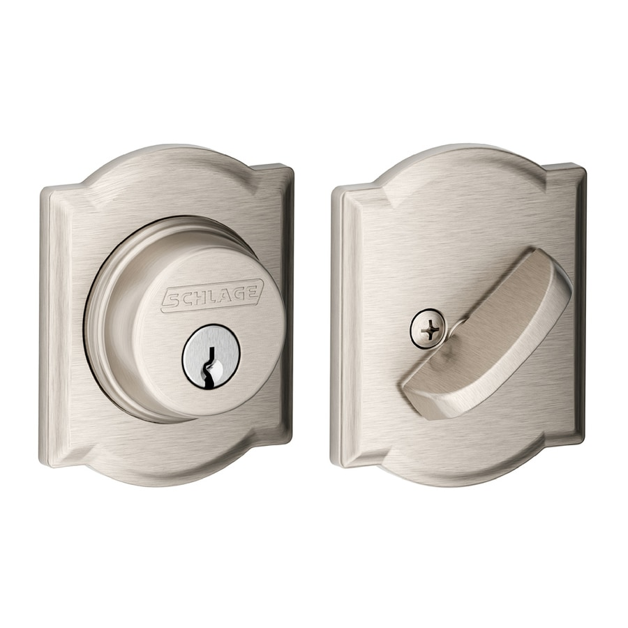 Schlage B Decorative Camelot Collections Satin Nickel Single-Cylinder Deadbolt