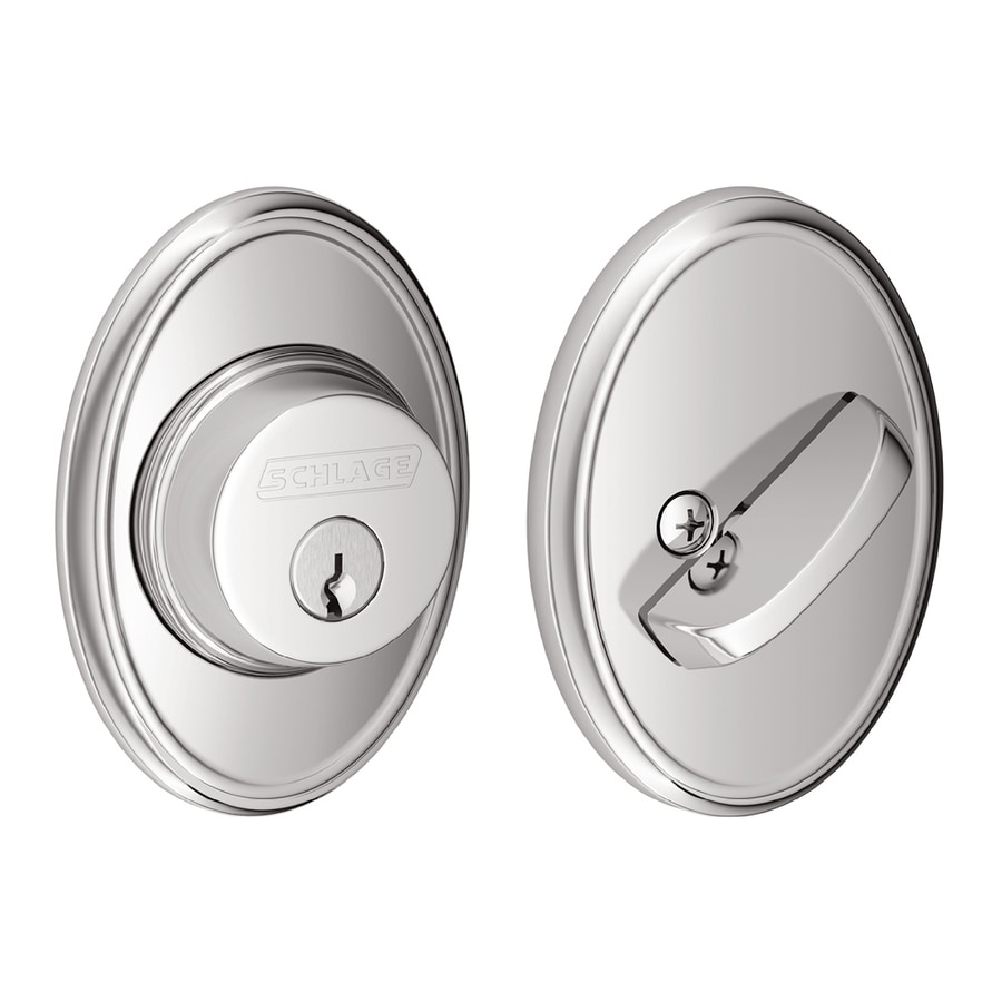 Schlage B Decorative Wakefield Collections Bright Chrome Single-Cylinder Deadbolt