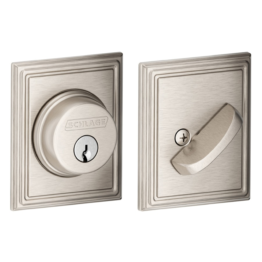 Schlage B Decorative Addison Collections Satin Nickel Single-Cylinder Deadbolt