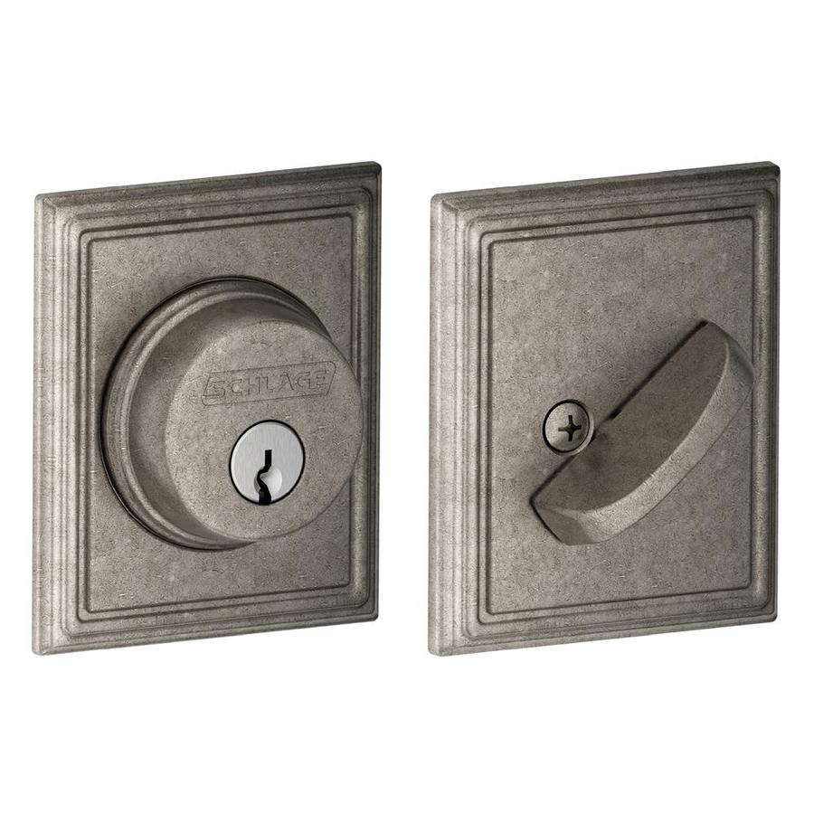 Schlage B Decorative Addison Collections Distressed Nickel Single-Cylinder Deadbolt
