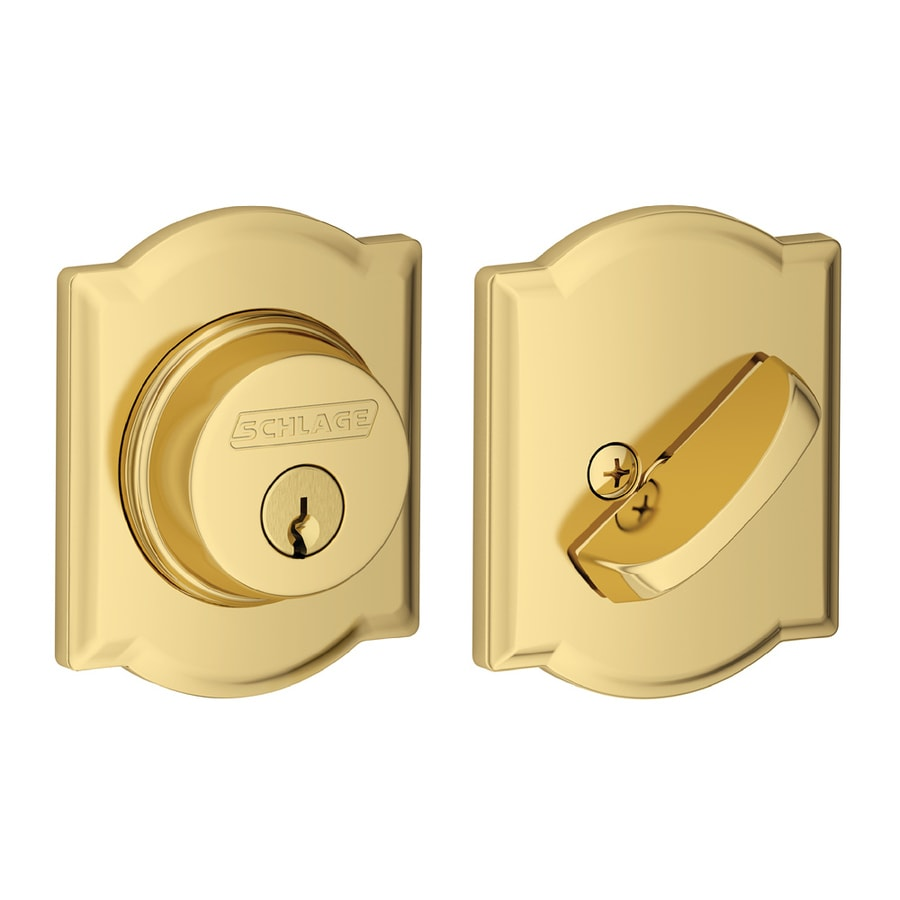 Schlage B Decorative Camelot Collections Bright Brass Single-Cylinder Deadbolt