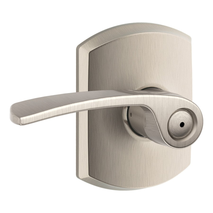 Schlage F Decorative Greenwich Collections Merano Satin Nickel Universal Push-Button Lock Privacy Door Lever