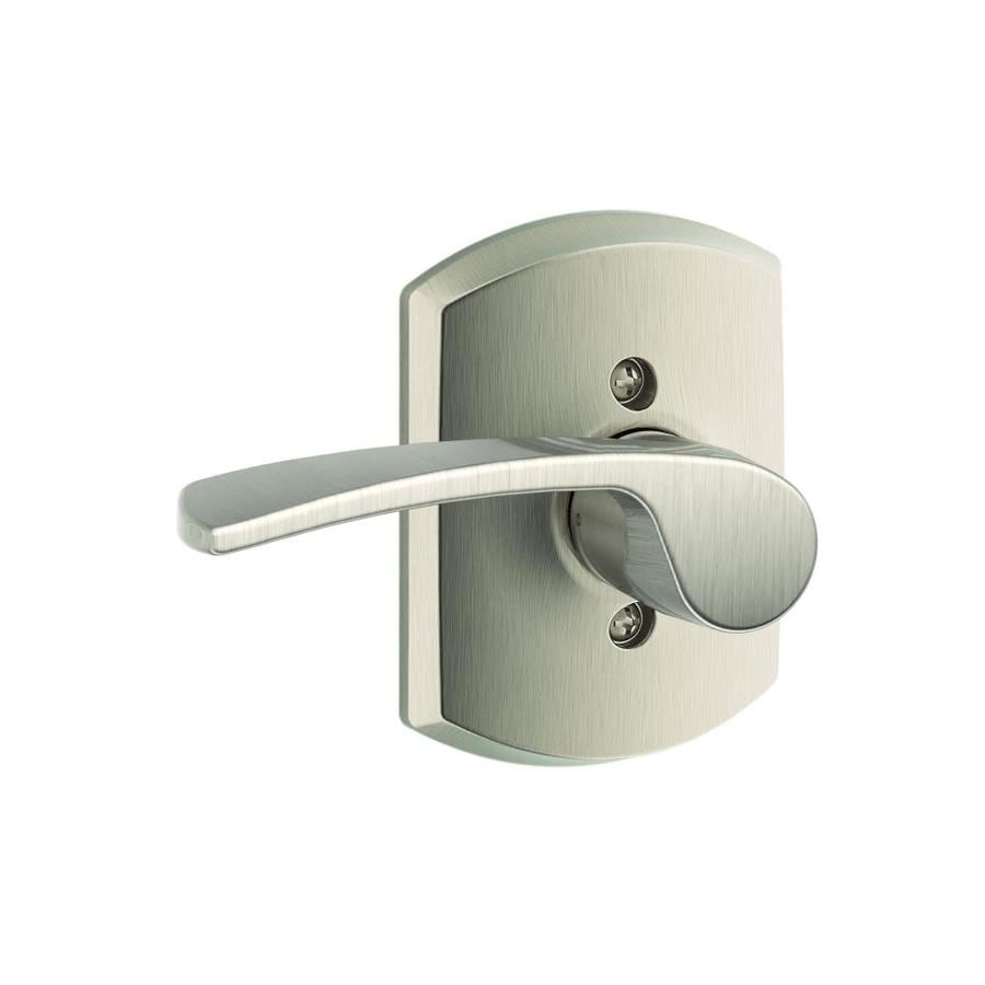 Schlage Merano x Greenwich Rose 1-5/8-in to 1-3/4-in Satin Nickel Single Cylinder Lever Entry Door Interior Handle