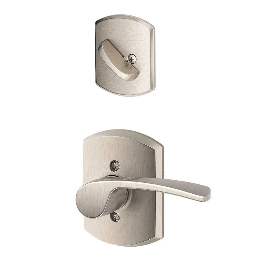 Schlage Merano x Greenwich Rose 1-5/8-in to 1-3/4-in Satin Nickel Non-Keyed Lever Entry Door Interior Handle