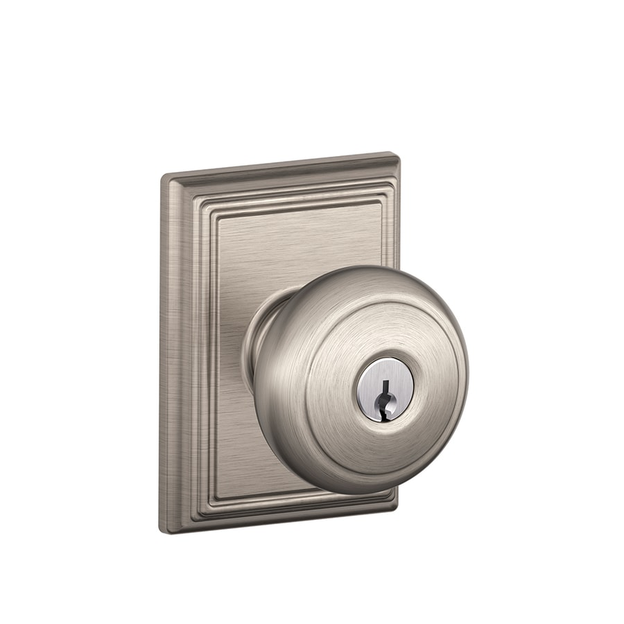 Schlage F Decorative Addison Collections Andover Satin Nickel Round Keyed Entry Door Knob