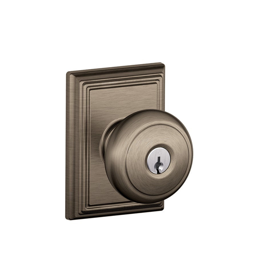 Schlage F Decorative Addison Collections Andover Traditional Antique Nickel Round Keyed Entry Door Knob