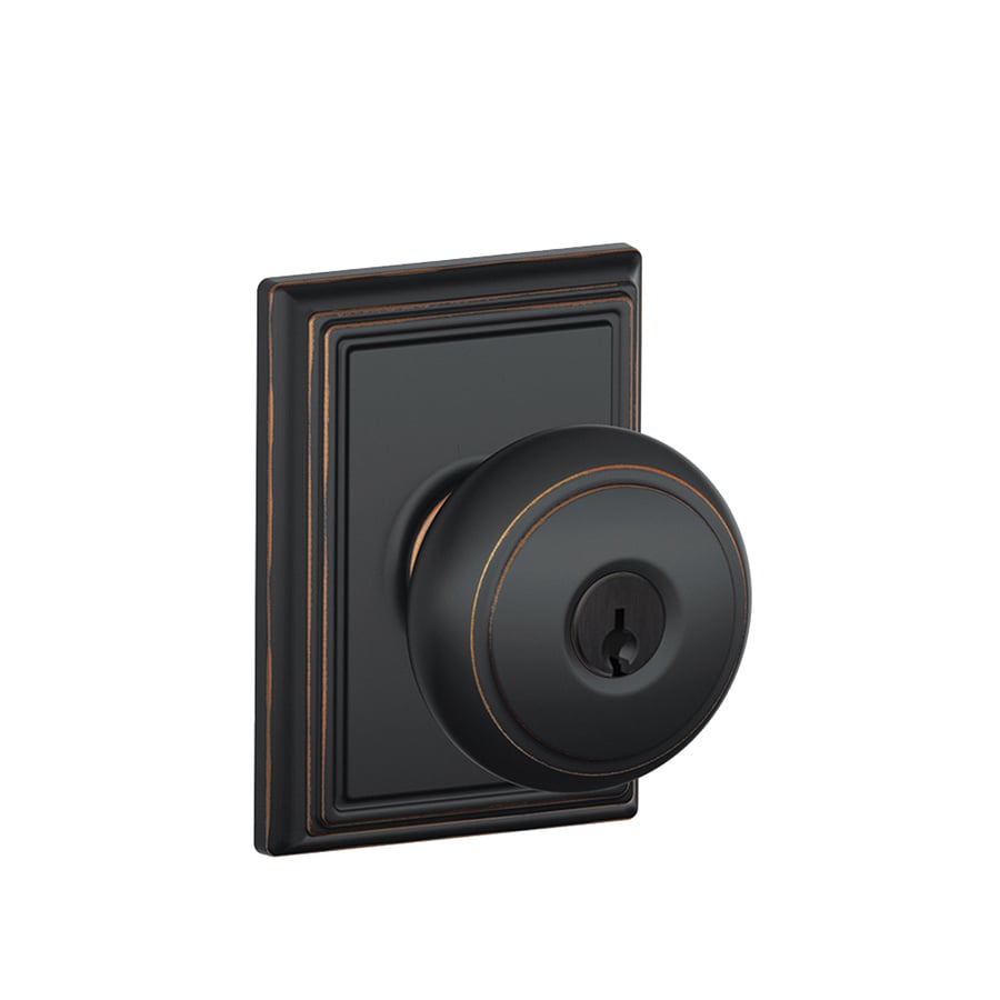 Schlage F Decorative Addison Collections Andover Traditional Aged Bronze Round Keyed Entry Door Knob