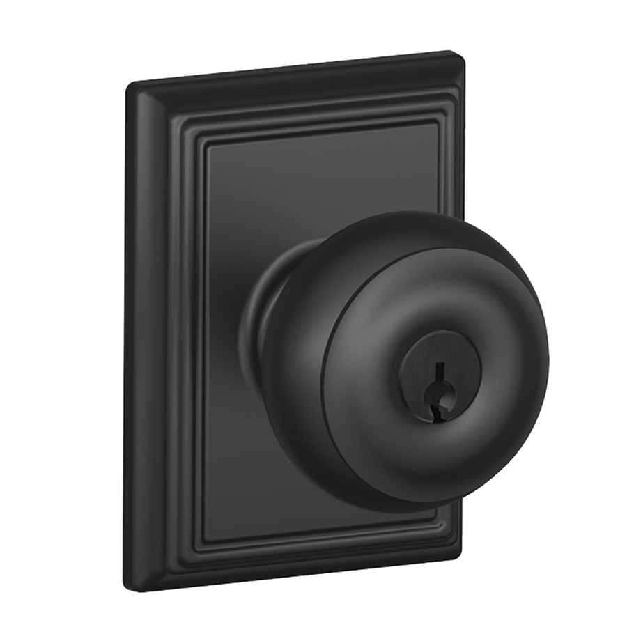 Schlage F Decorative Addison Collections Georgian Traditional Matte Black Round Keyed Entry Door Knob
