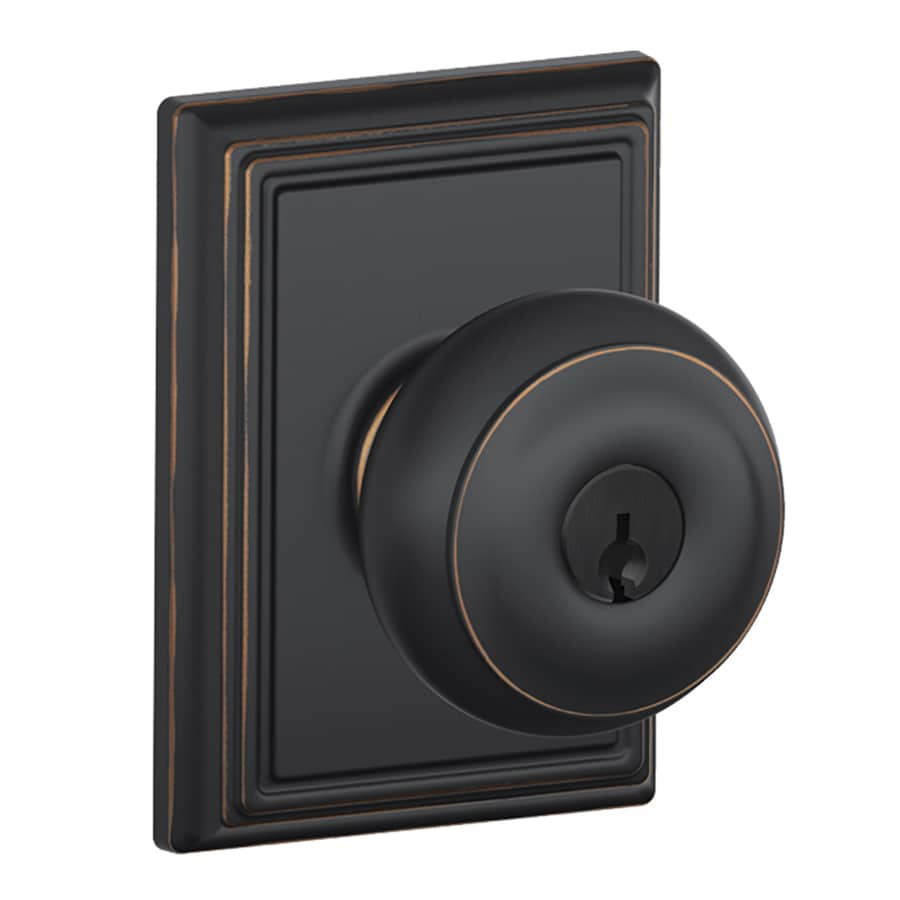 Schlage F Decorative Addison Collections Georgian Traditional Aged Bronze Round Keyed Entry Door Knob