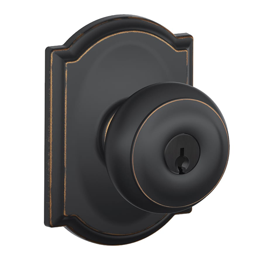 Schlage F Decorative Camelot Collections Georgian Aged Bronze Round Keyed Entry Door Knob