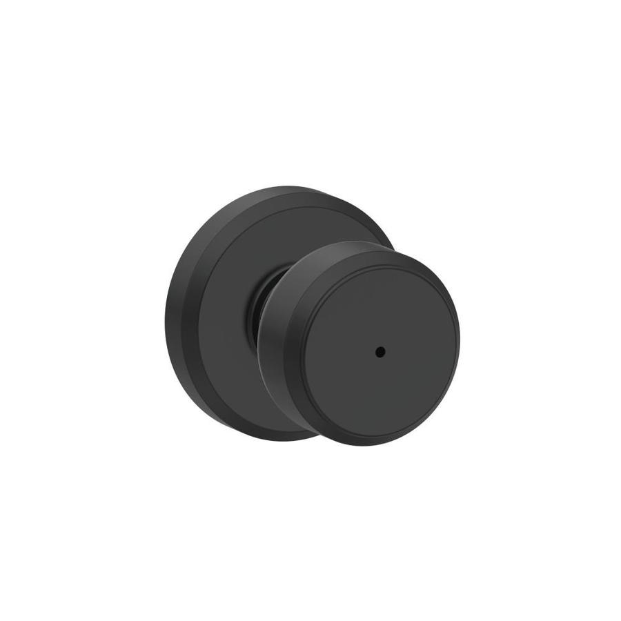 Schlage F Decorative Greyson Collections Bowery Matte Black Round Push-Button Lock Privacy Door Knob