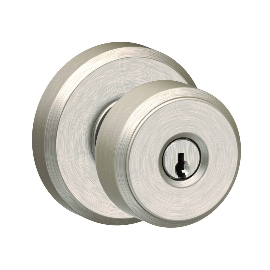 Schlage F51 Bowery Bowery with Greyson Satin nickel Keyed Entry Door Knob