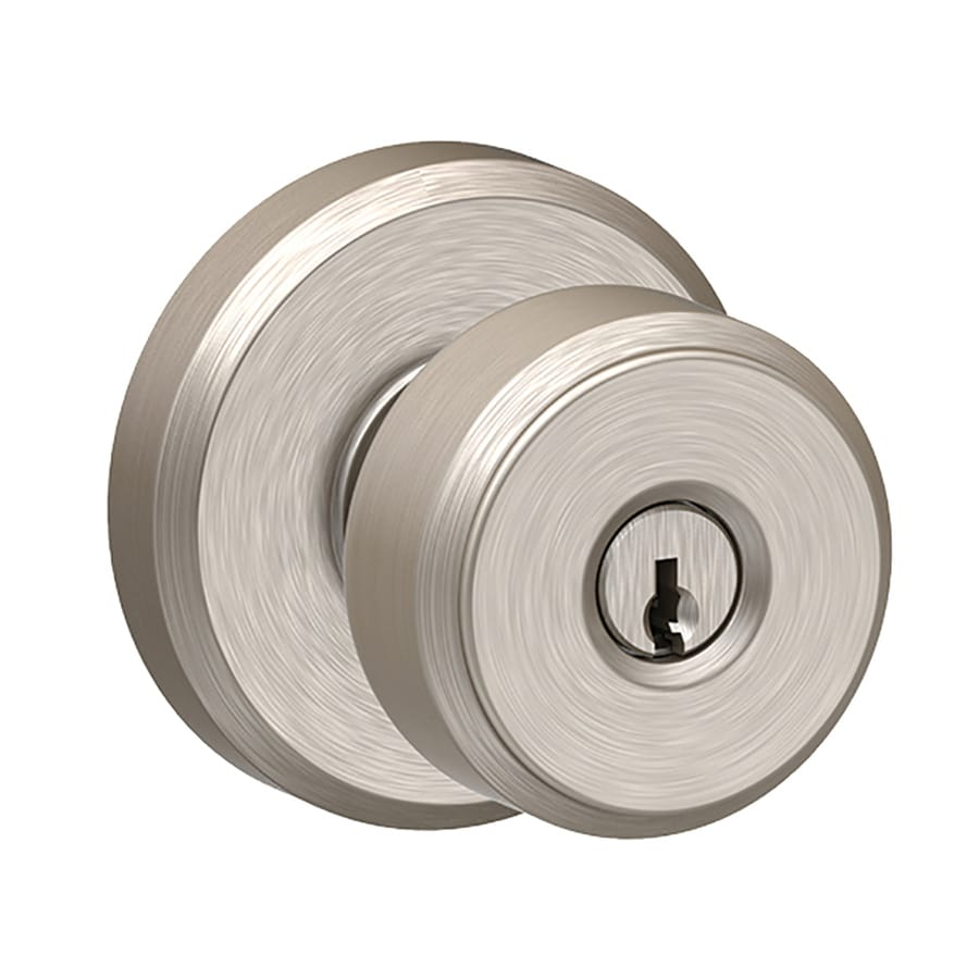 Schlage F Decorative Greyson Collections Bowery Satin Nickel Round Keyed Entry Door Knob