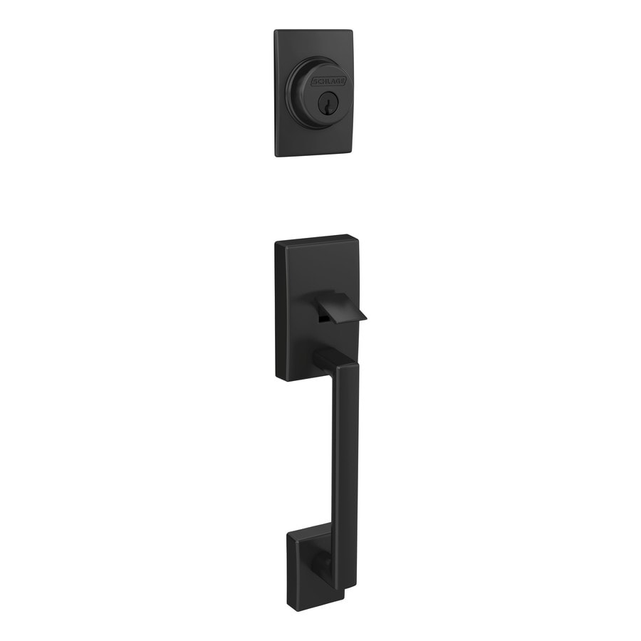 Schlage F Century Matte Black Single Cylinder Deadbolt Entry Door