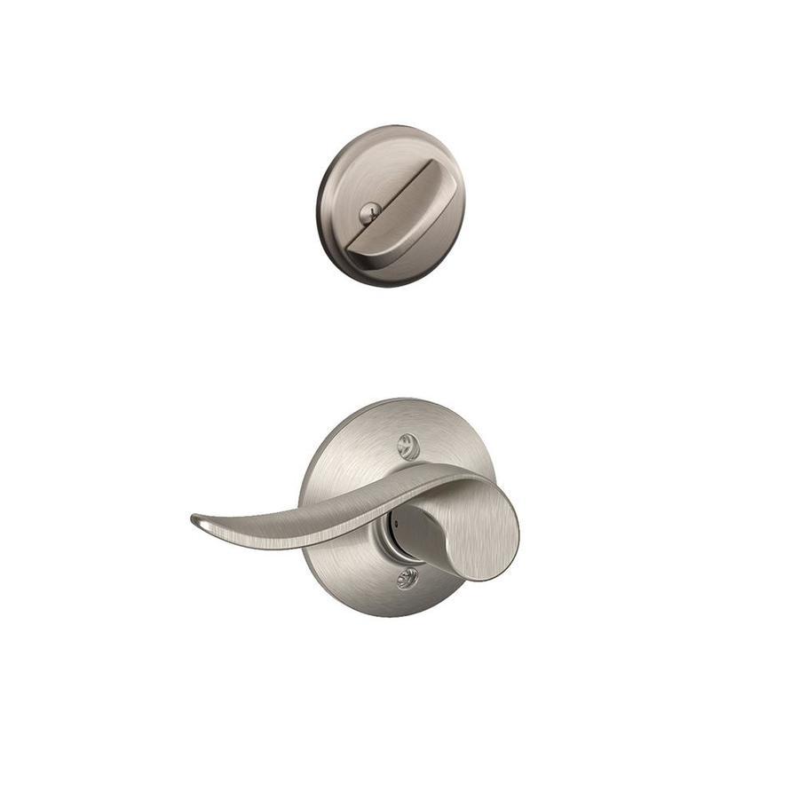 Schlage Sacramento 1-5/8-in to 1-3/4-in Satin Nickel Single Cylinder Lever Entry Door Interior Handle