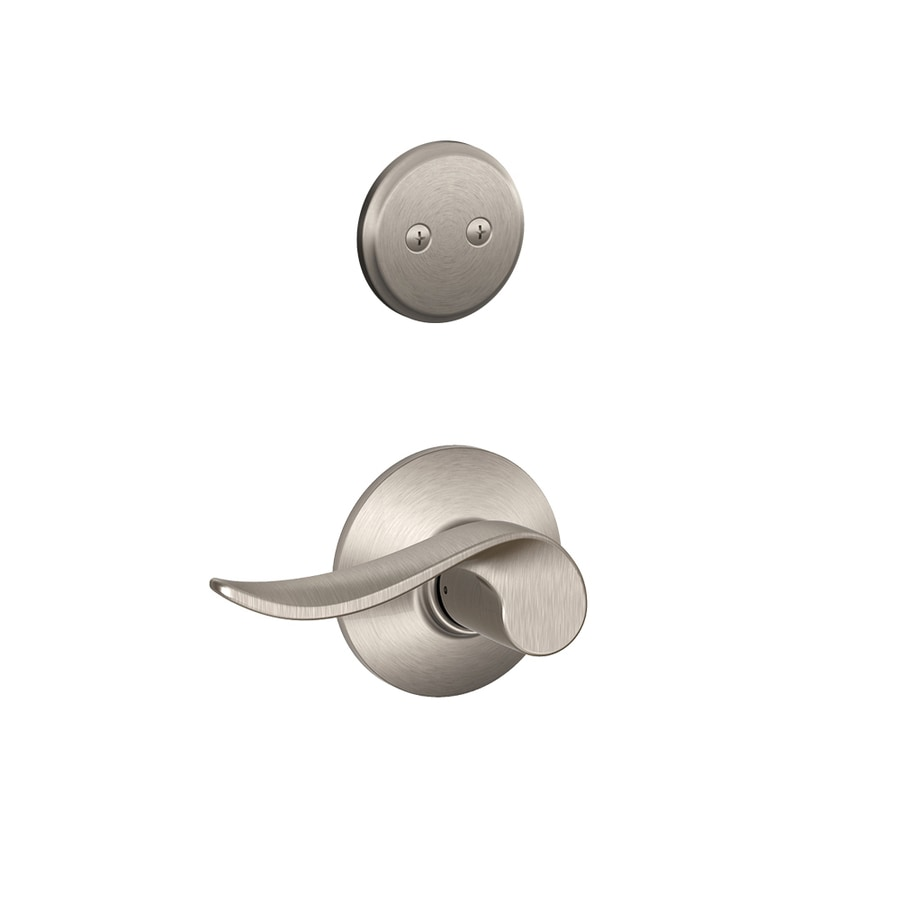 Schlage Sacramento 1-5/8-in to 1-3/4-in Satin Nickel Non-Keyed Lever Entry Door Interior Handle