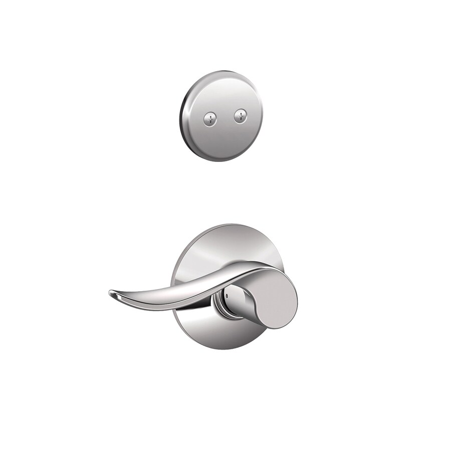 Schlage Sacramento 1-5/8-in to 1-3/4-in Bright Chrome Non-Keyed Lever Entry Door Interior Handle
