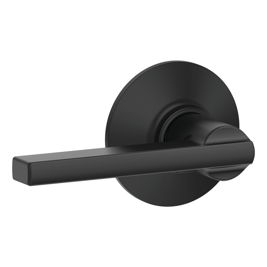 Oil rubbed bronze door levers - Schlage F Latitude Matte Black Passage Door Lever