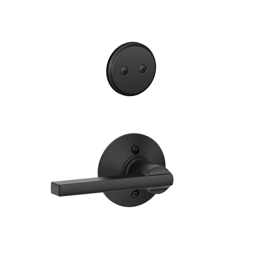 Schlage Latitude 1-5/8-in to 1-3/4-in Matte Black Non-Keyed Lever Entry Door Interior Handle