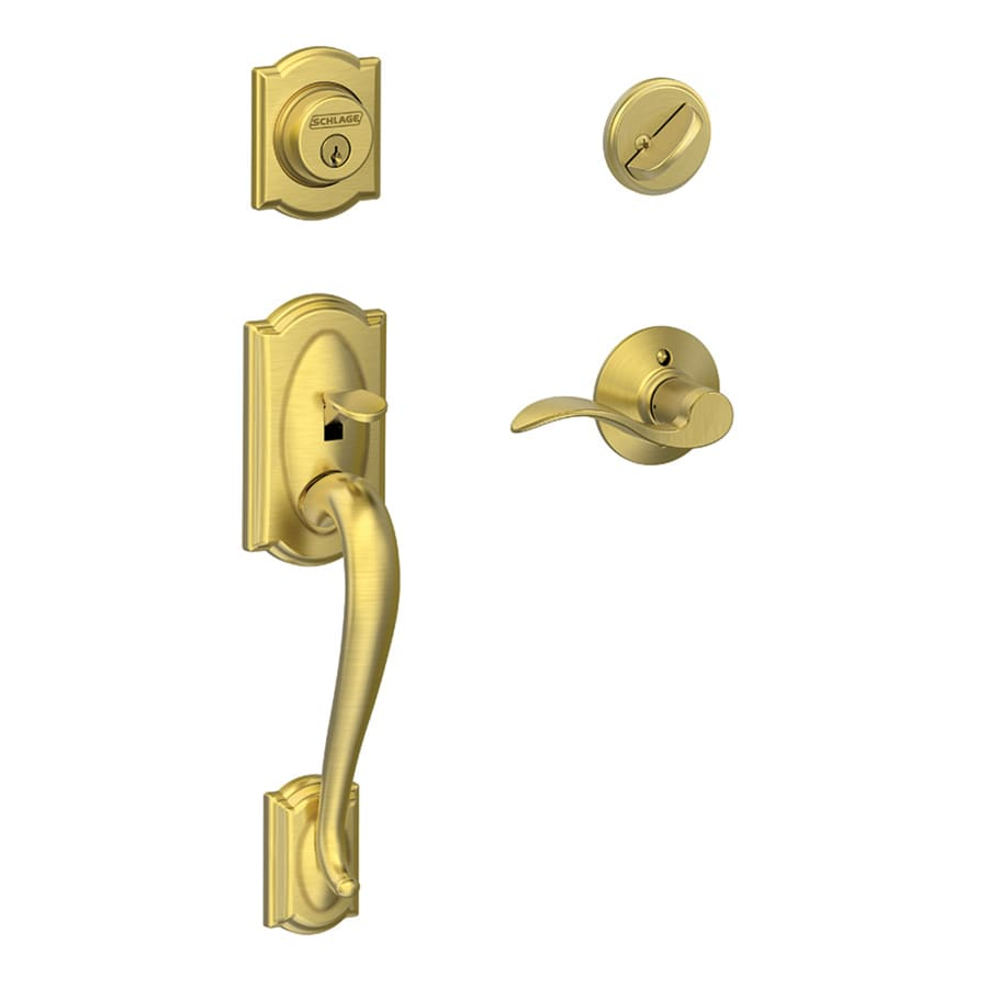 Schlage F60 Camelot Traditional Satin Brass Single-Lock Keyed Entry Door Handleset
