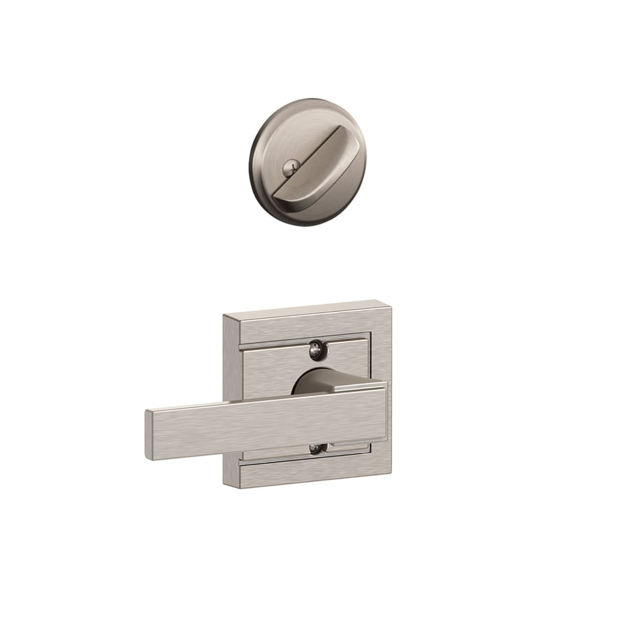 Schlage Northbrook x Upland Rose 1-5/8-in to 1-3/4-in Satin Nickel Single Cylinder Lever Entry Door Interior Handle